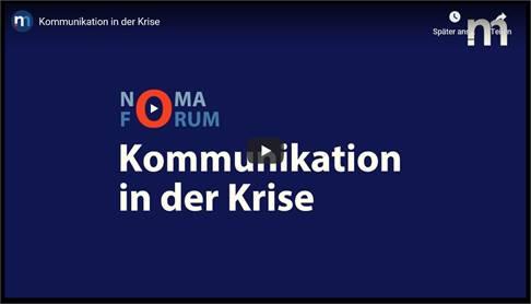 "NoMa Forum "" Krisenkommunikation"" digital bei YouTube"